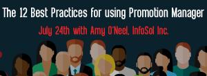 Let's Speak BO Webinar The 12 Best Practices for using Promotion Manager July 24 2018